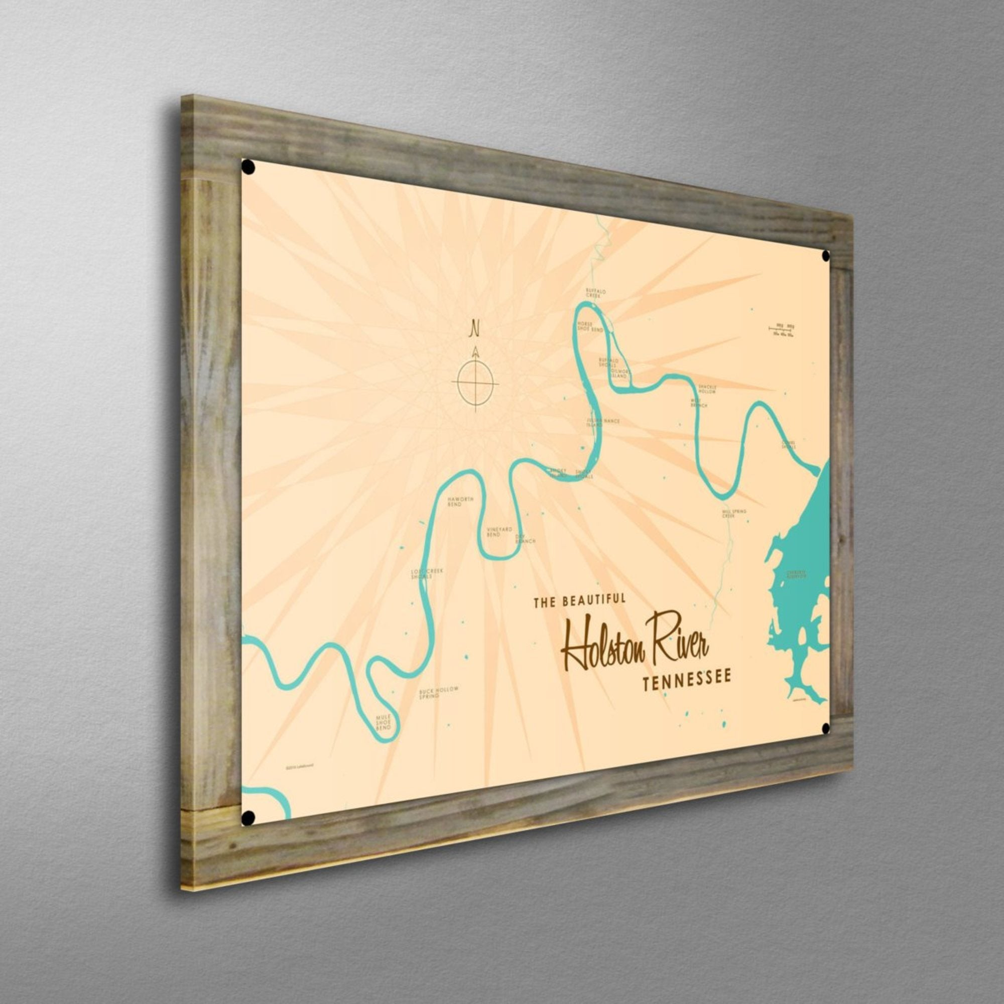 Holston River Tennessee, Wood-Mounted Metal Sign Map Art