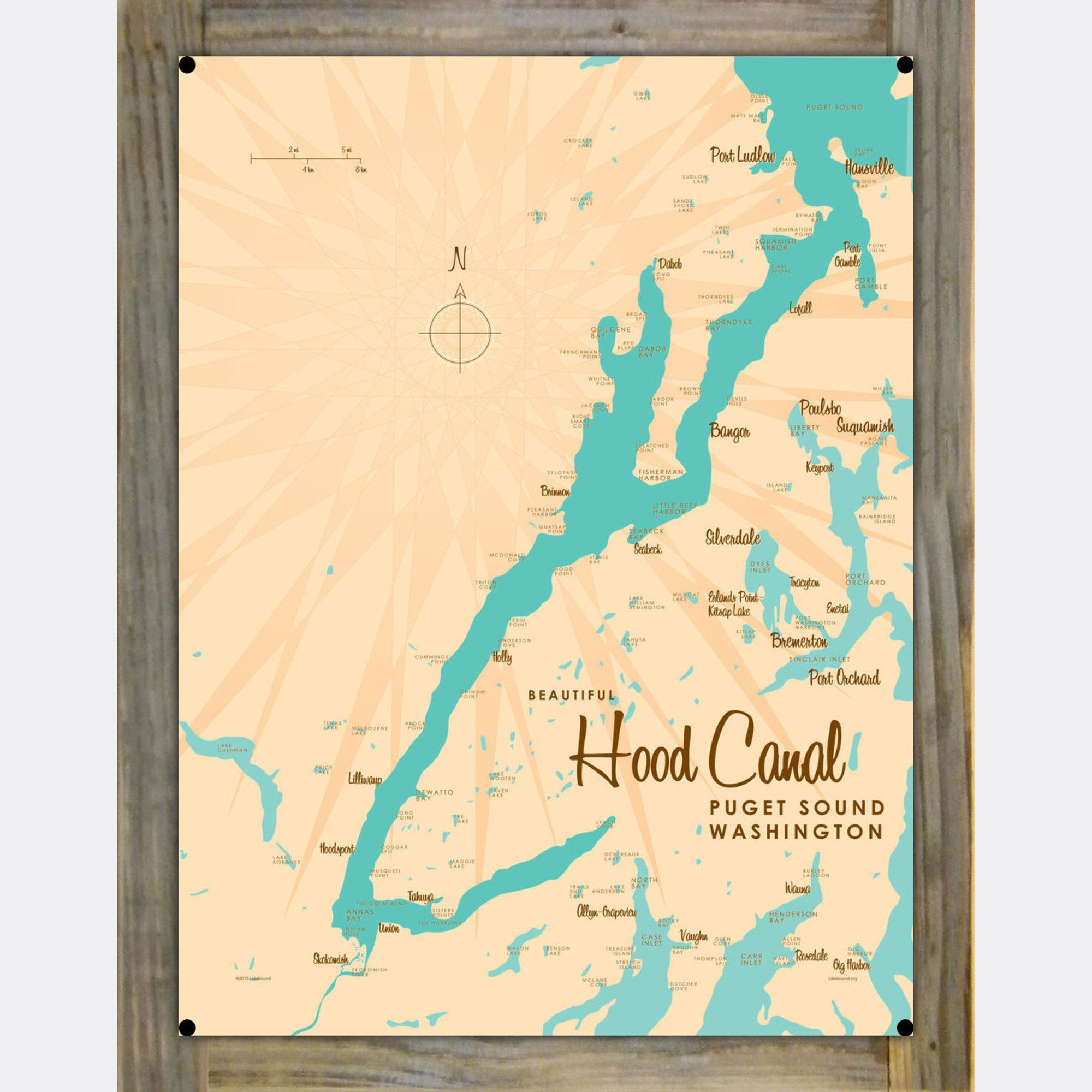 Hood Canal Washington, Wood-Mounted Metal Sign Map Art