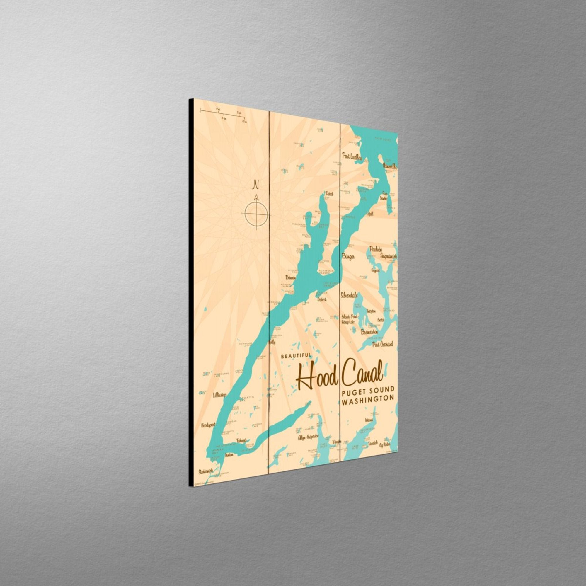 Hood Canal Washington, Wood Sign Map Art