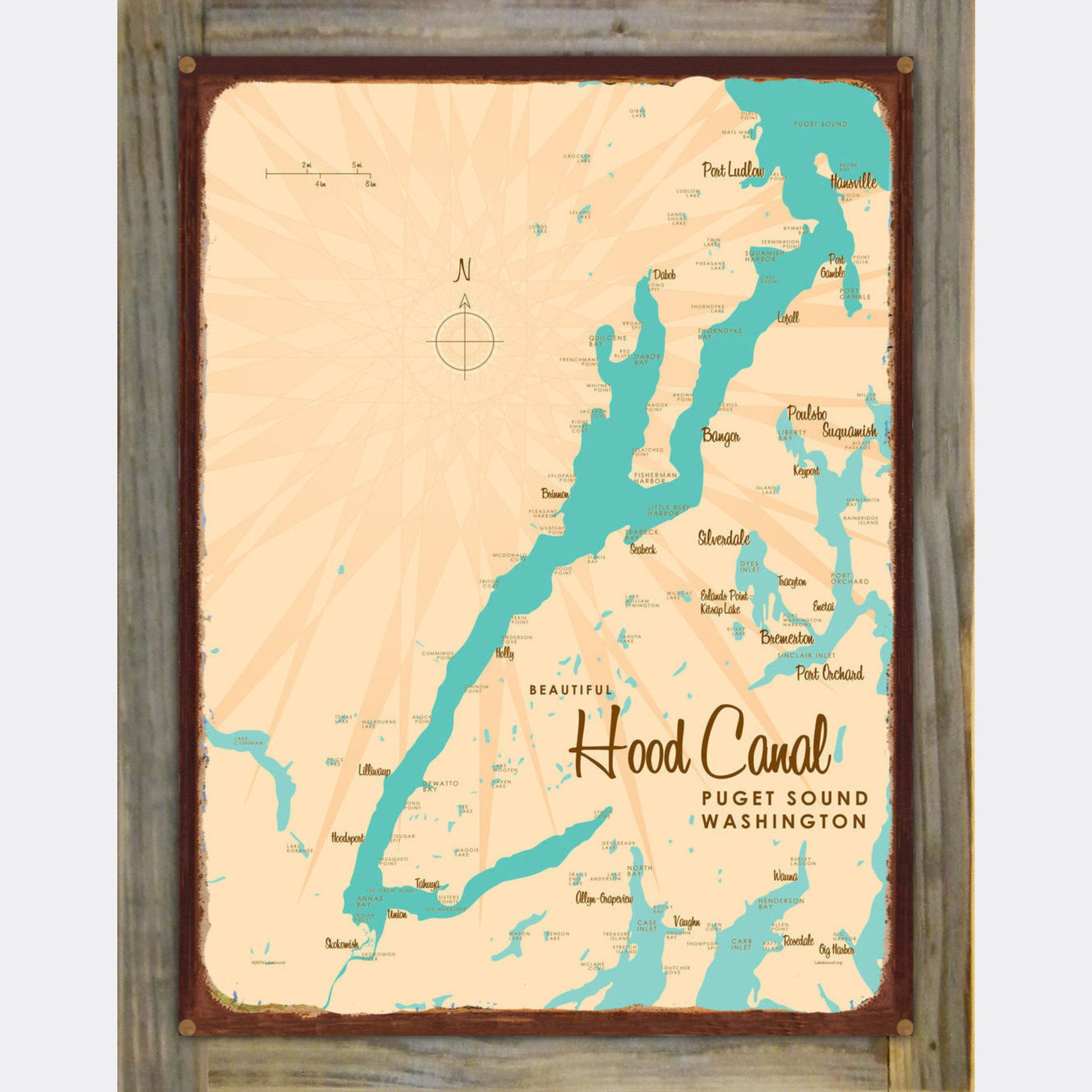 Hood Canal Washington, Wood-Mounted Rustic Metal Sign Map Art