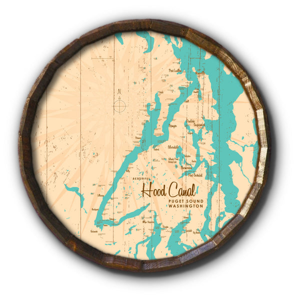 Hood Canal Washington, Rustic Barrel End Map Art