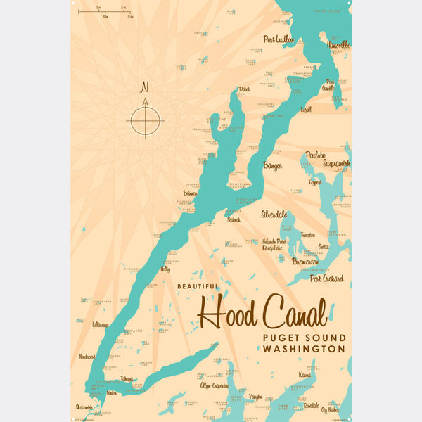 Hood Canal Washington, Metal Sign Map Art