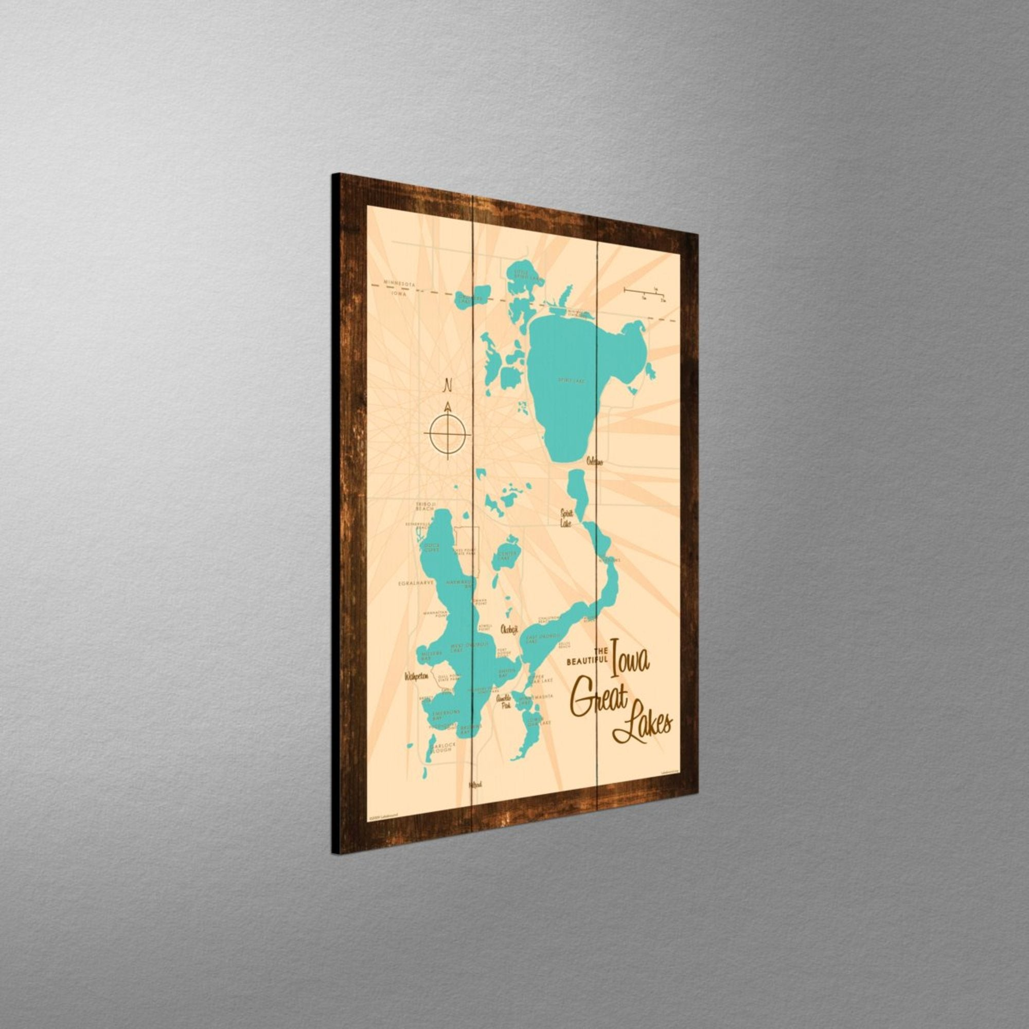Iowa Great Lakes, Rustic Wood Sign Map Art