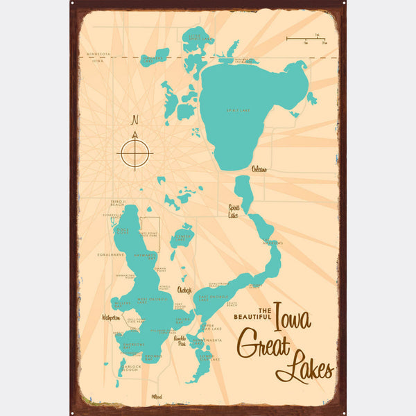 Iowa Great Lakes, Rustic Metal Sign Map Art