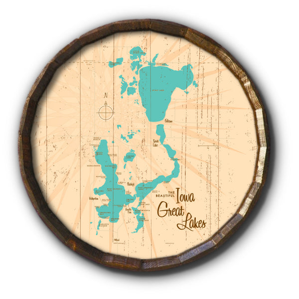 Iowa Great Lakes, Rustic Barrel End Map Art