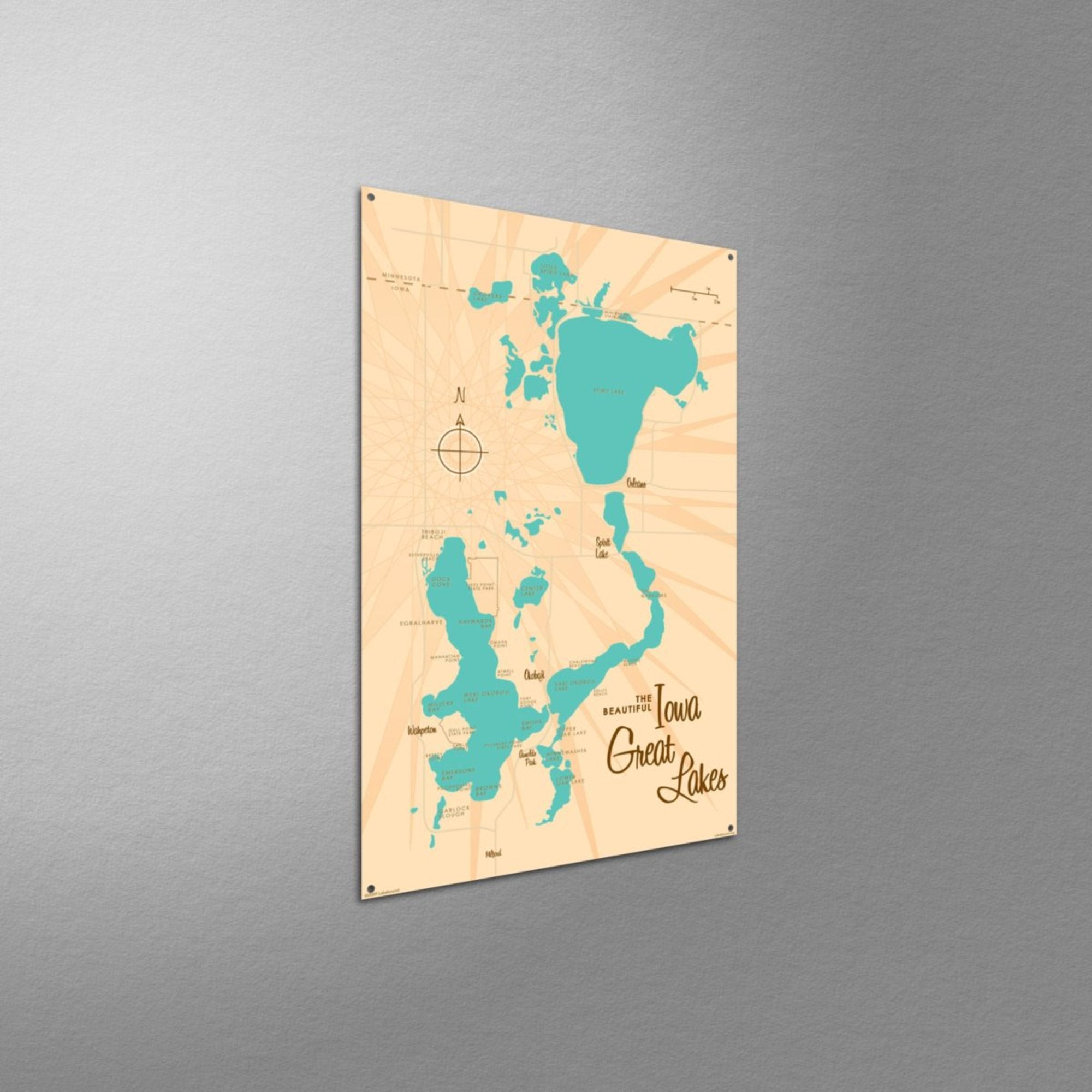 Iowa Great Lakes, Metal Sign Map Art