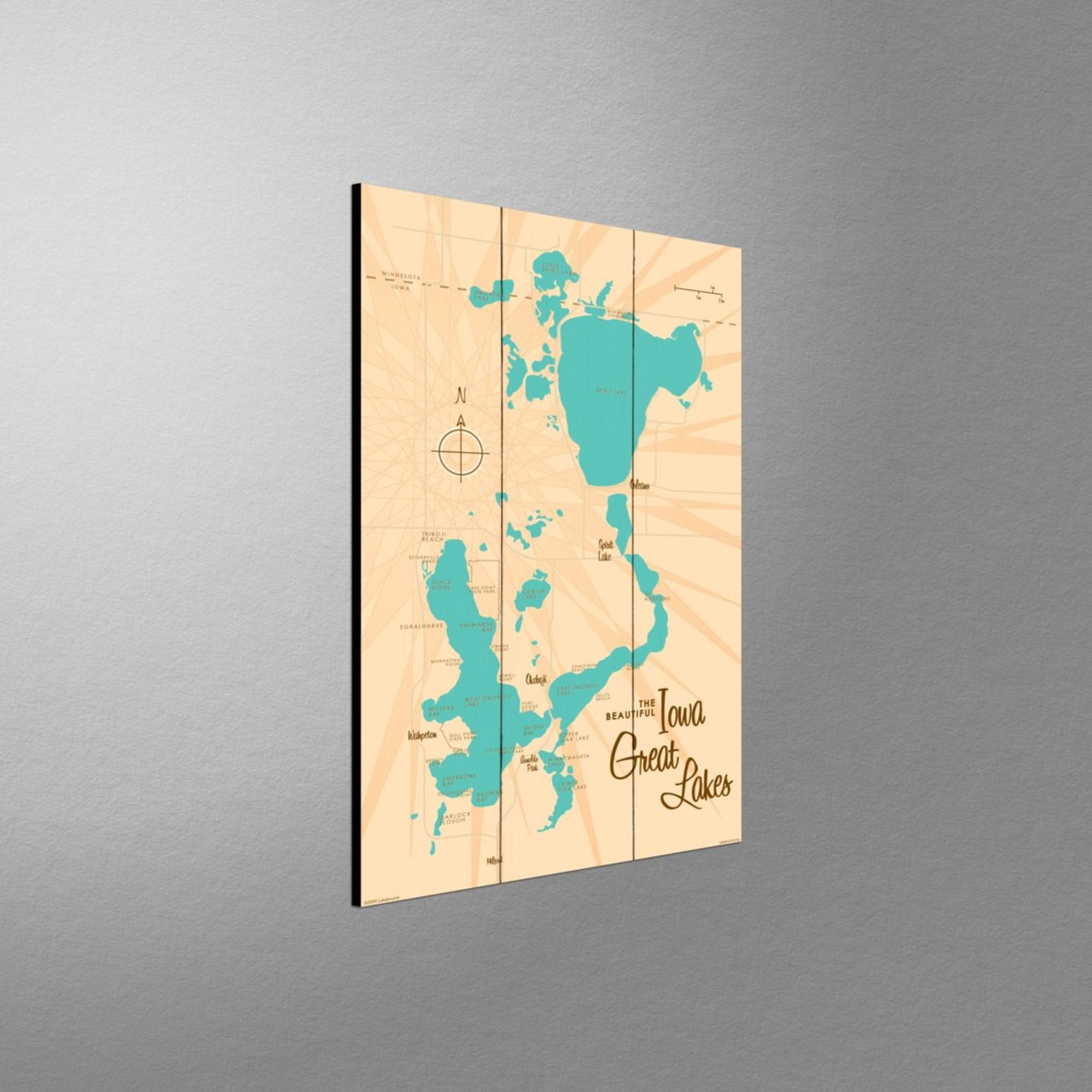 Iowa Great Lakes, Wood Sign Map Art