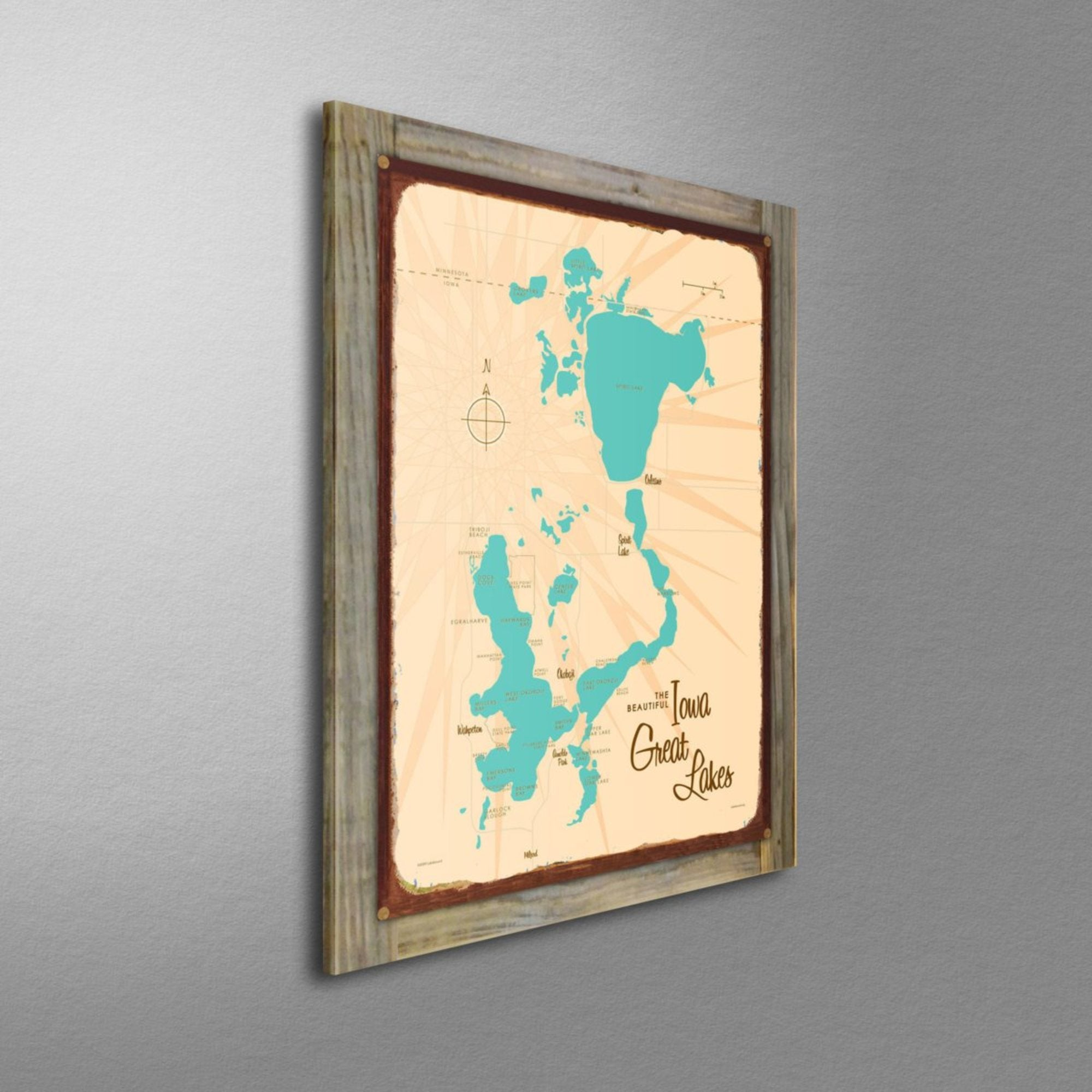 Iowa Great Lakes, Wood-Mounted Rustic Metal Sign Map Art