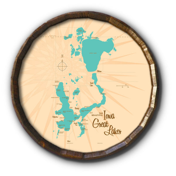 Iowa Great Lakes, Barrel End Map Art