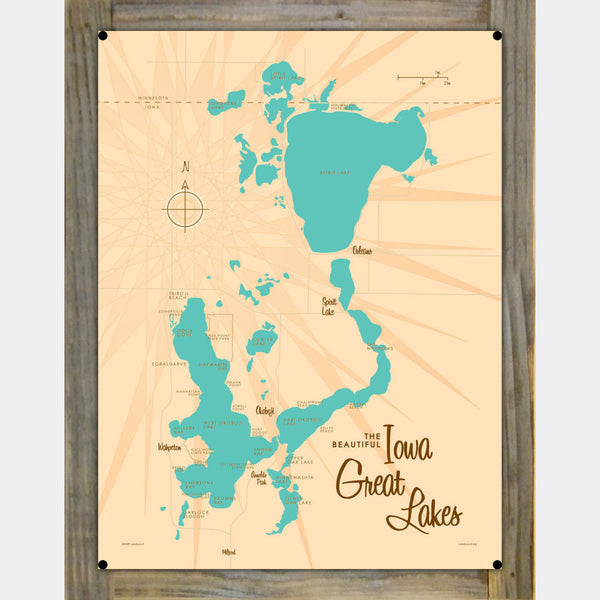 Iowa Great Lakes, Wood-Mounted Metal Sign Map Art