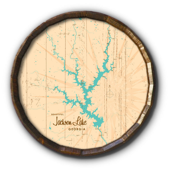 Jackson Lake Georgia, Rustic Barrel End Map Art