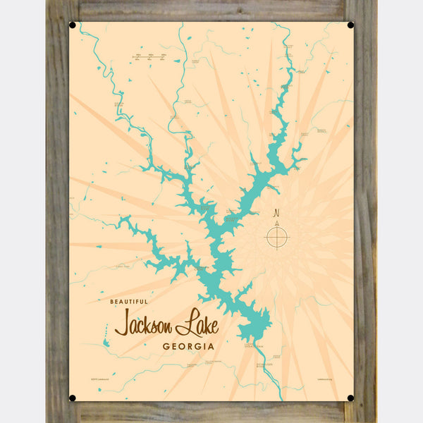 Jackson Lake Georgia, Wood-Mounted Metal Sign Map Art