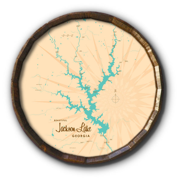Jackson Lake Georgia, Barrel End Map Art