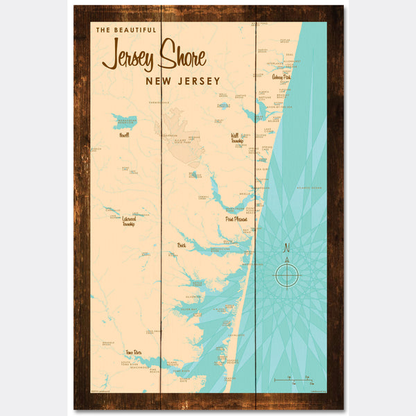 Jersey Shore New Jersey, Rustic Wood Sign Map Art