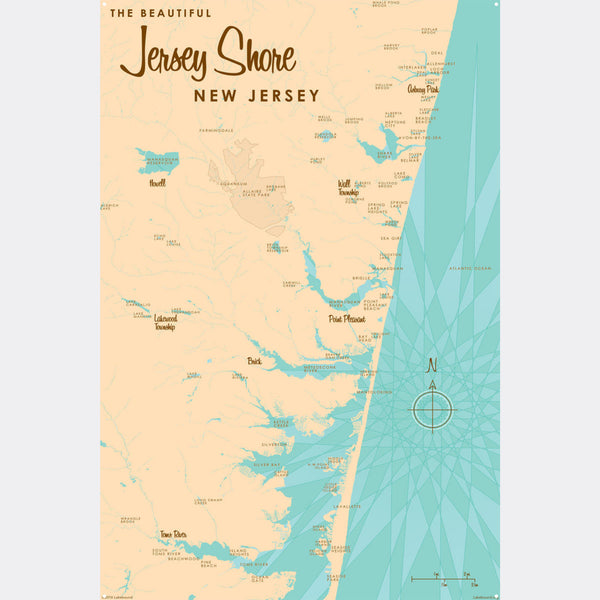 Jersey Shore New Jersey, Metal Sign Map Art