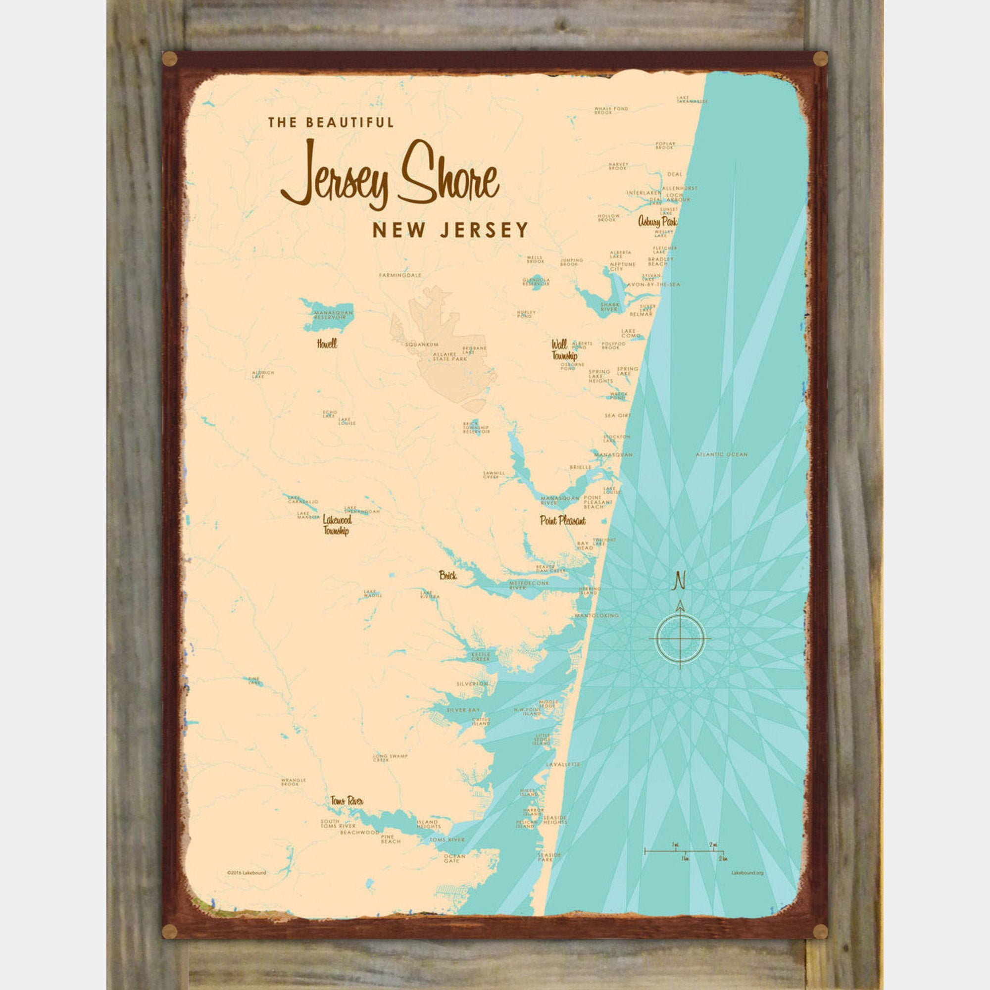 Jersey Shore New Jersey, Wood-Mounted Rustic Metal Sign Map Art