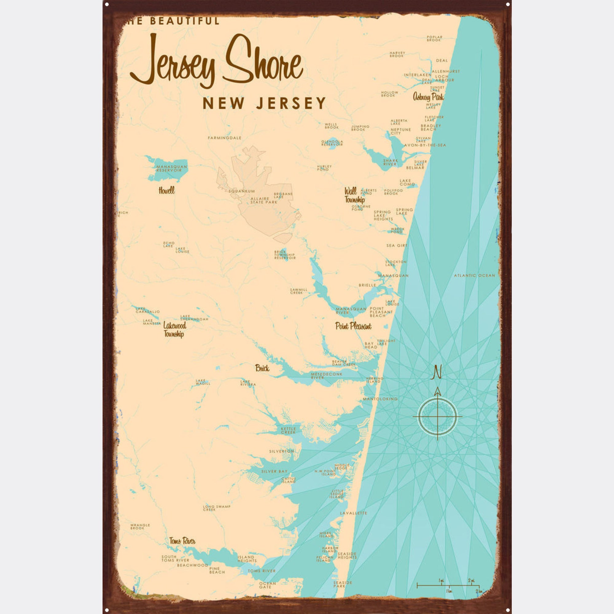 Jersey Shore New Jersey, Rustic Metal Sign Map Art