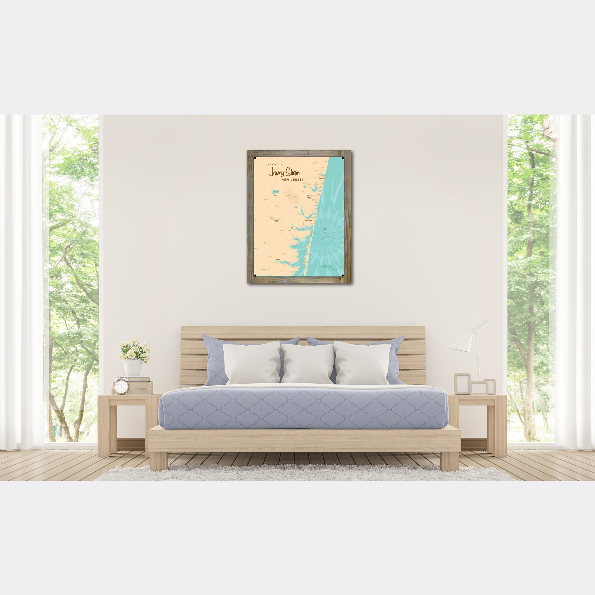 Jersey Shore New Jersey, Wood-Mounted Metal Sign Map Art