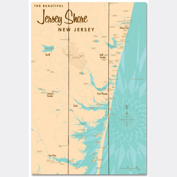 Jersey Shore New Jersey, Wood Sign Map Art