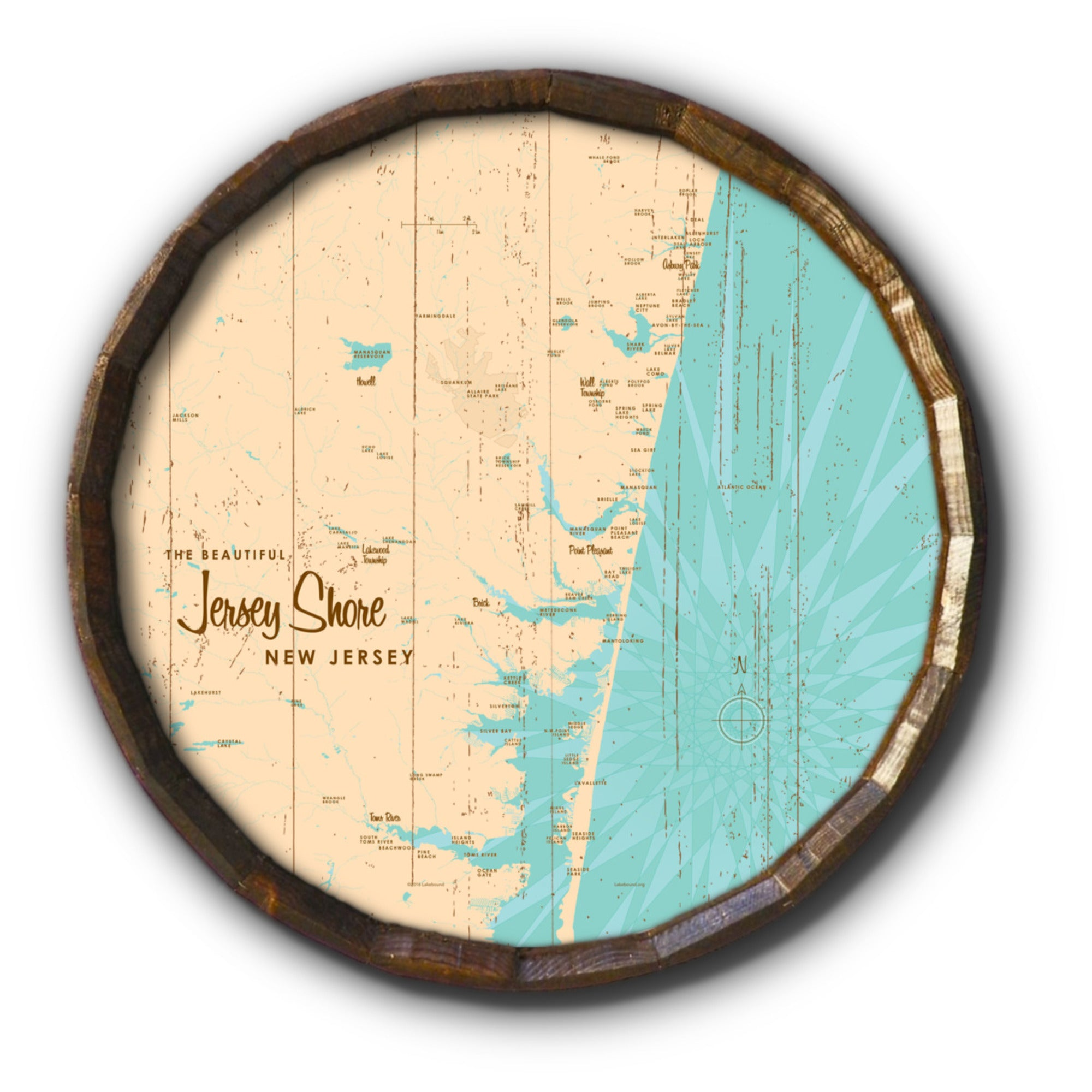 Jersey Shore New Jersey, Rustic Barrel End Map Art