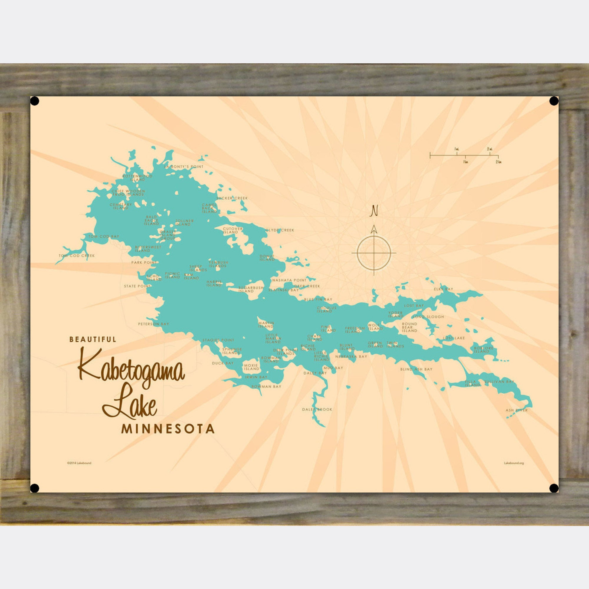 Kabetogama Lake Minnesota, Wood-Mounted Metal Sign Map Art