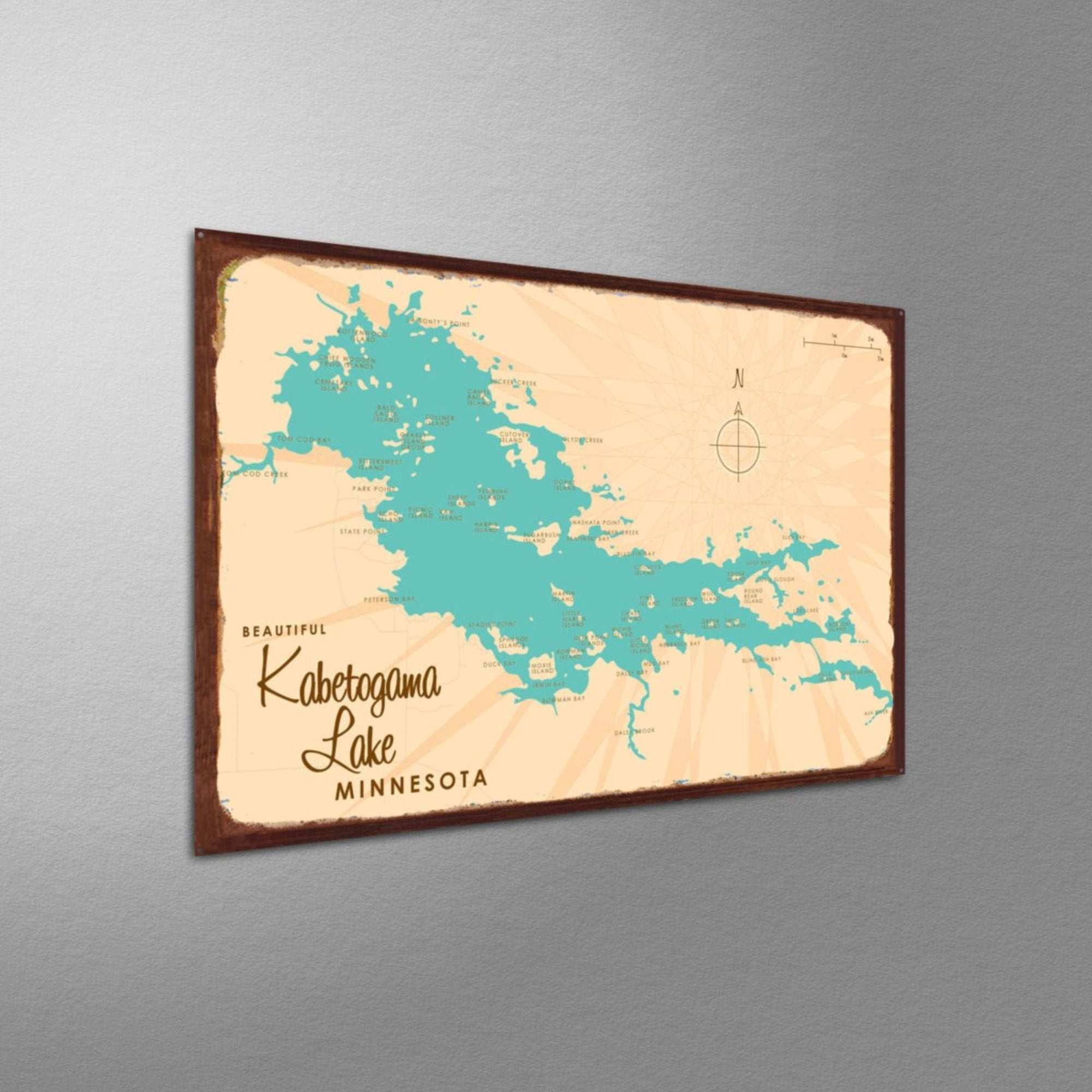 Kabetogama Lake Minnesota, Rustic Metal Sign Map Art