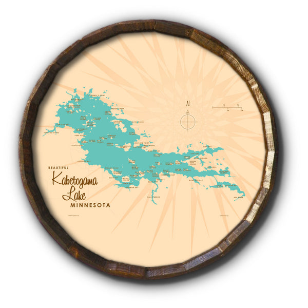 Kabetogama Lake Minnesota, Barrel End Map Art