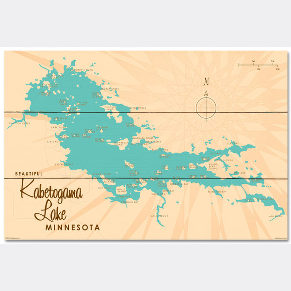 Kabetogama Lake Minnesota, Wood Sign Map Art