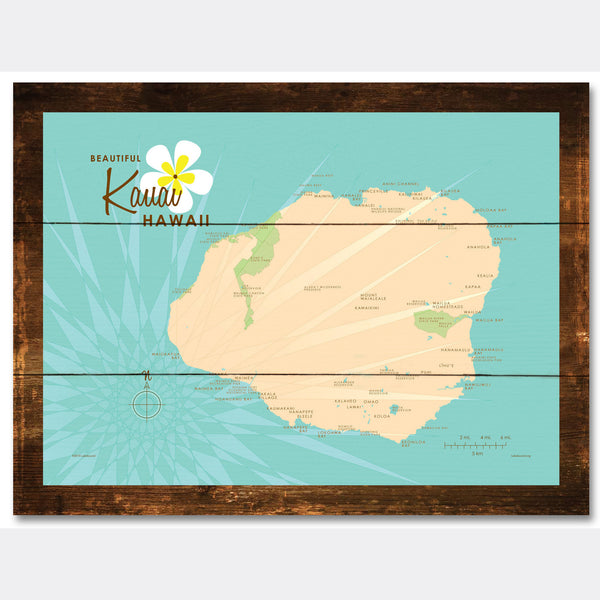 Kauai, Rustic Wood Sign Map Art