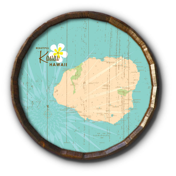 Kauai, Rustic Barrel End Map Art