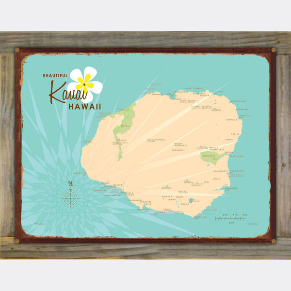 Kauai, Wood-Mounted Metal Sign Map Art