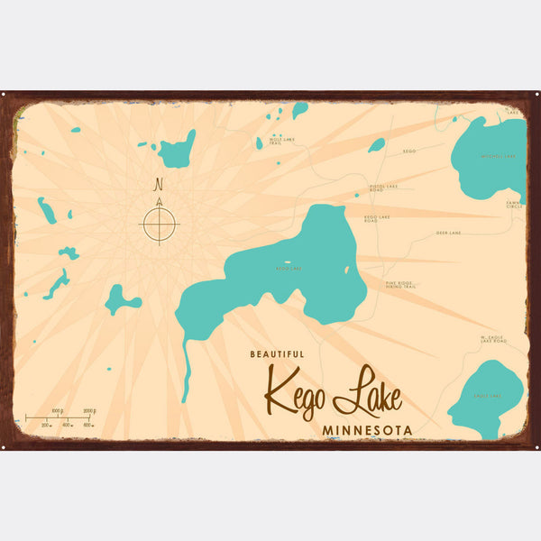 Kego Lake Minnesota, Rustic Metal Sign Map Art