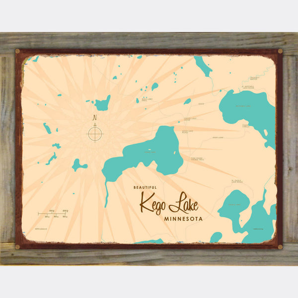 Kego Lake Minnesota, Wood-Mounted Rustic Metal Sign Map Art