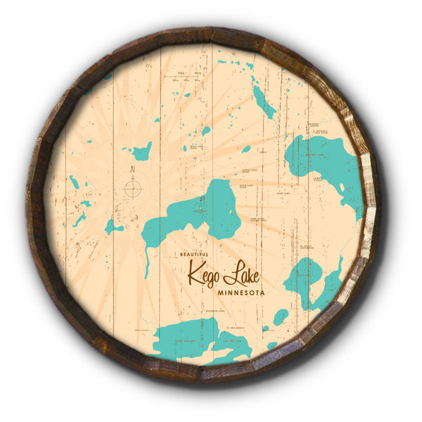 Kego Lake Minnesota, Rustic Barrel End Map Art