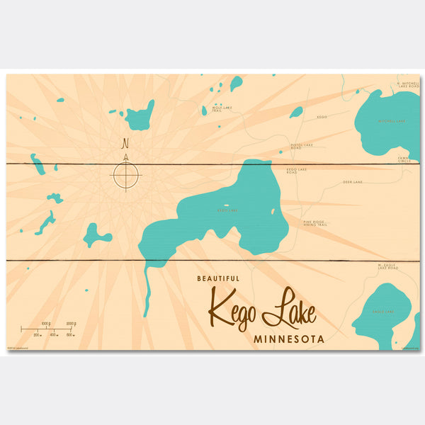 Kego Lake Minnesota, Wood Sign Map Art