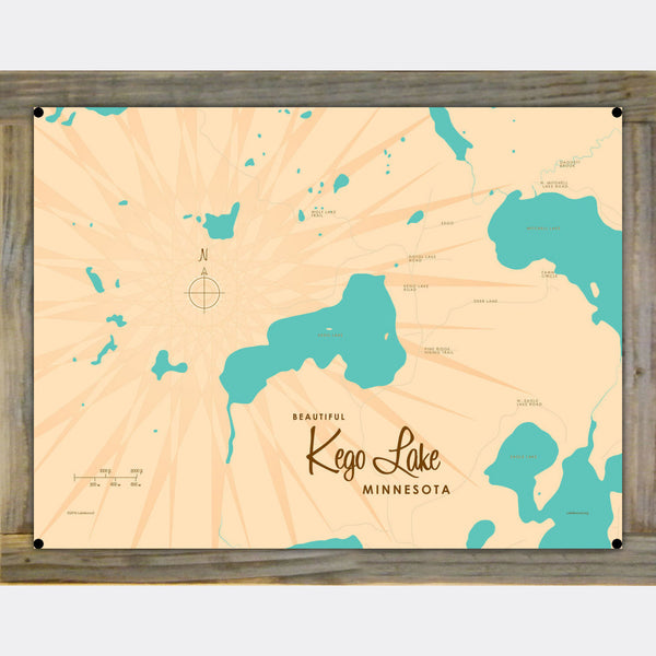 Kego Lake Minnesota, Wood-Mounted Metal Sign Map Art