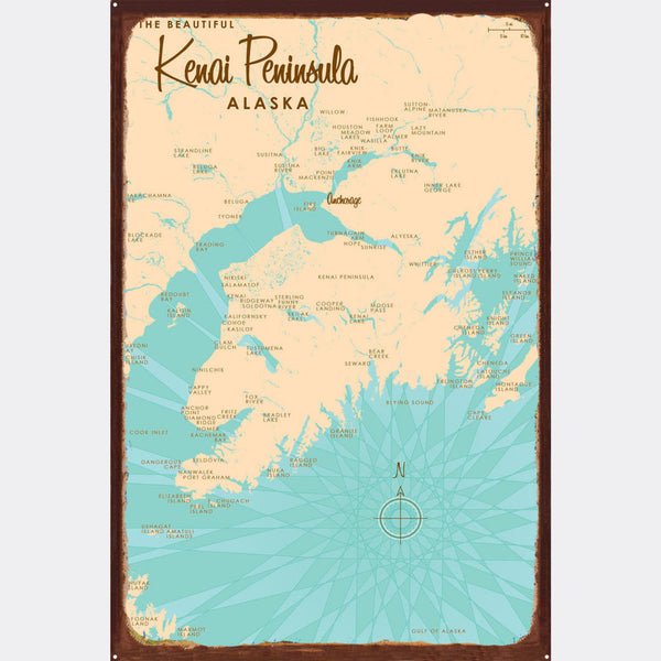 Kenai Peninsula Alaska, Rustic Metal Sign Map Art