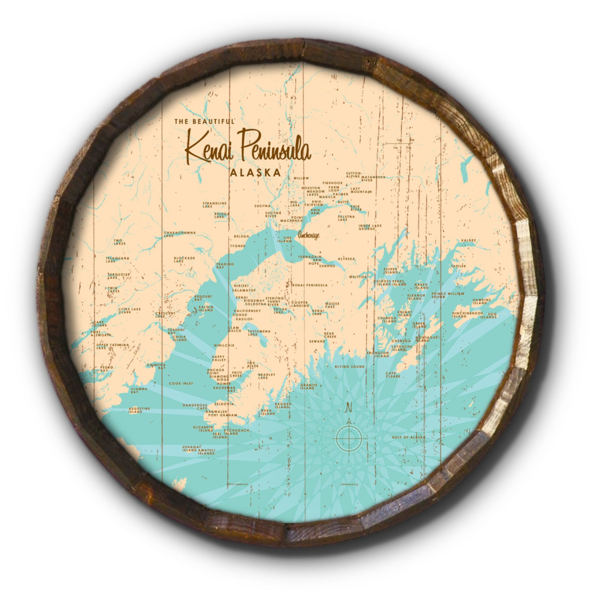 Kenai Peninsula Alaska, Rustic Barrel End Map Art