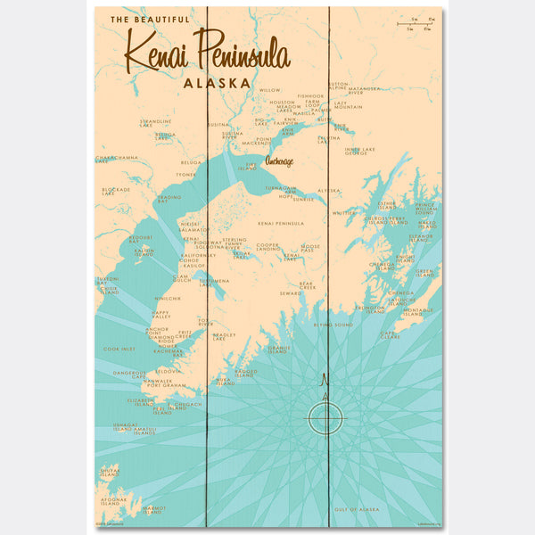 Kenai Peninsula Alaska, Wood Sign Map Art