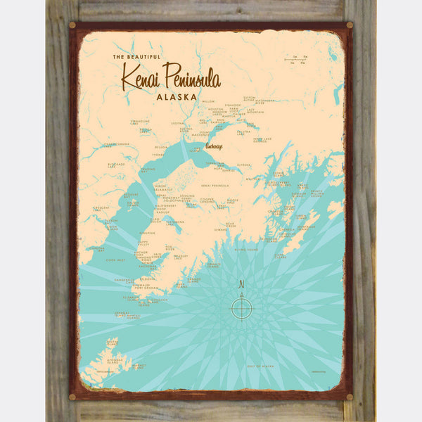 Kenai Peninsula Alaska, Wood-Mounted Rustic Metal Sign Map Art