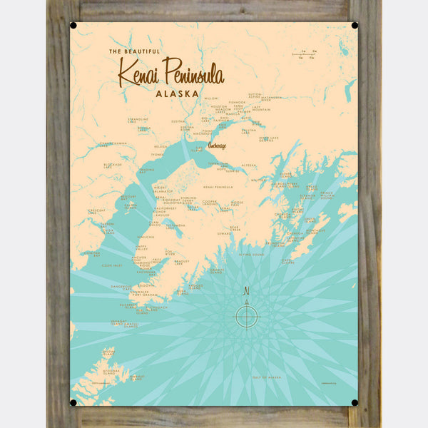Kenai Peninsula Alaska, Wood-Mounted Metal Sign Map Art