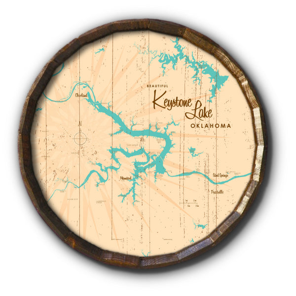 Keystone Lake Oklahoma, Rustic Barrel End Map Art