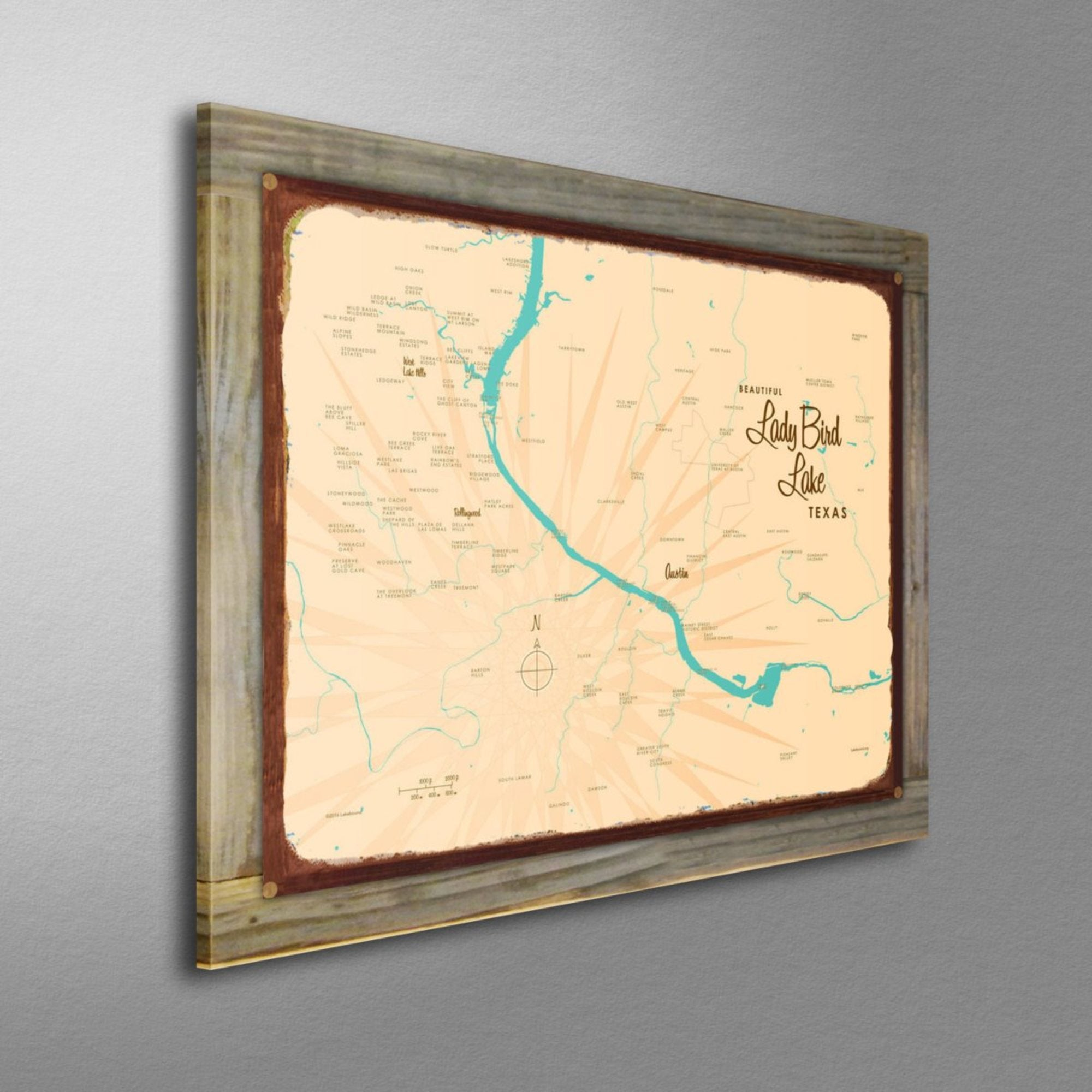 Lady Bird Lake Texas, Wood-Mounted Rustic Metal Sign Map Art