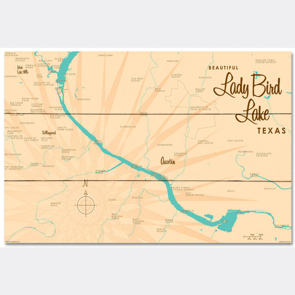 Lady Bird Lake Texas, Wood Sign Map Art