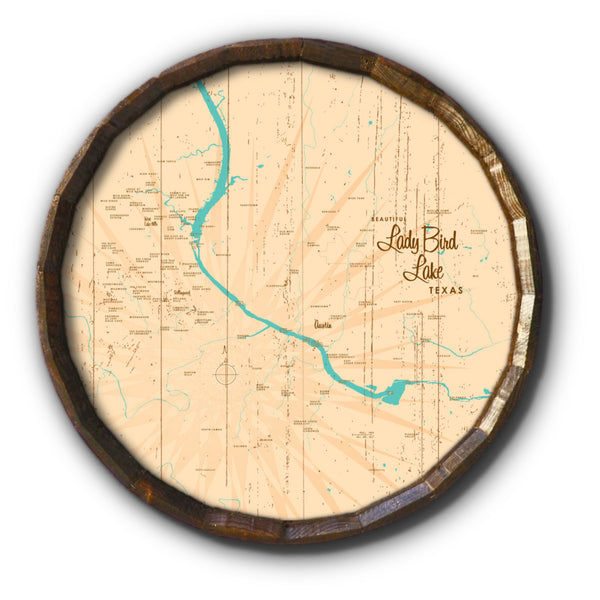 Lady Bird Lake Texas, Rustic Barrel End Map Art