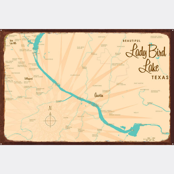 Lady Bird Lake Texas, Rustic Metal Sign Map Art