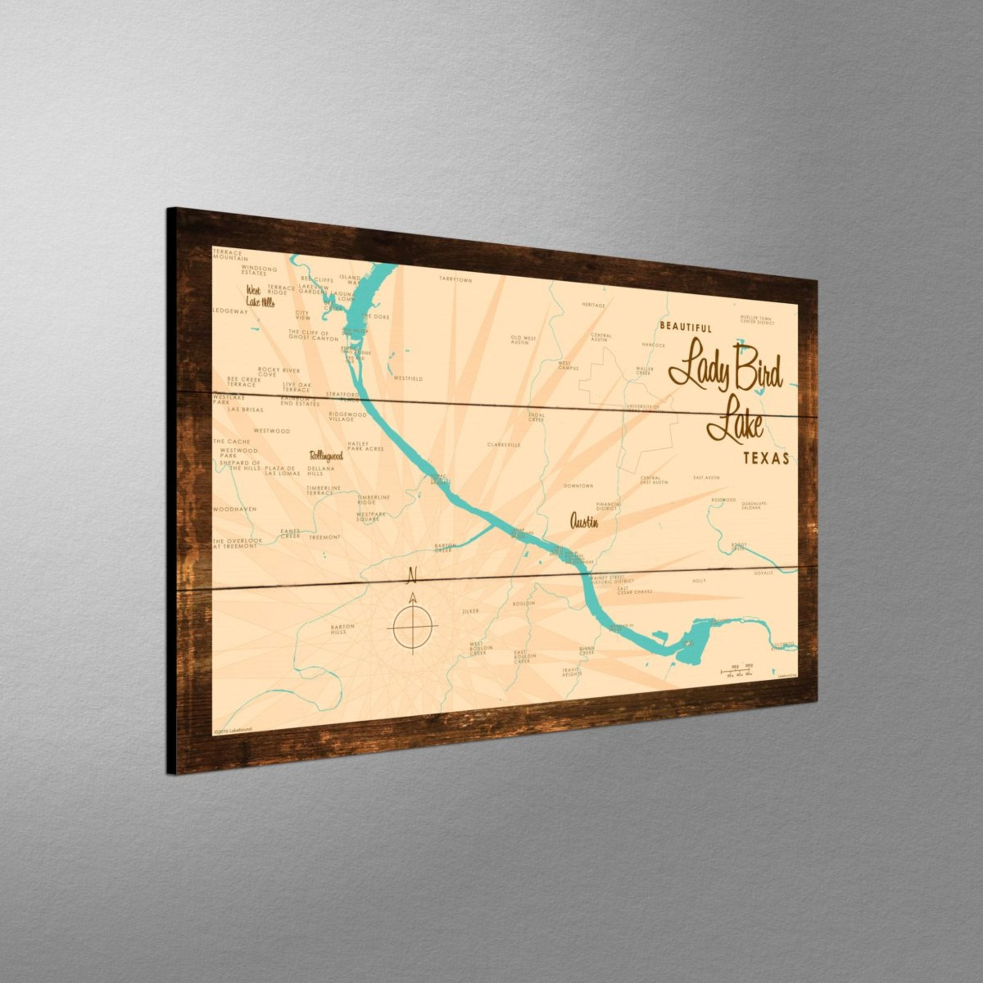 Lady Bird Lake Texas, Rustic Wood Sign Map Art