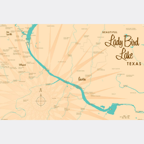 Lady Bird Lake Texas, Metal Sign Map Art