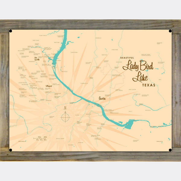 Lady Bird Lake Texas, Wood-Mounted Metal Sign Map Art