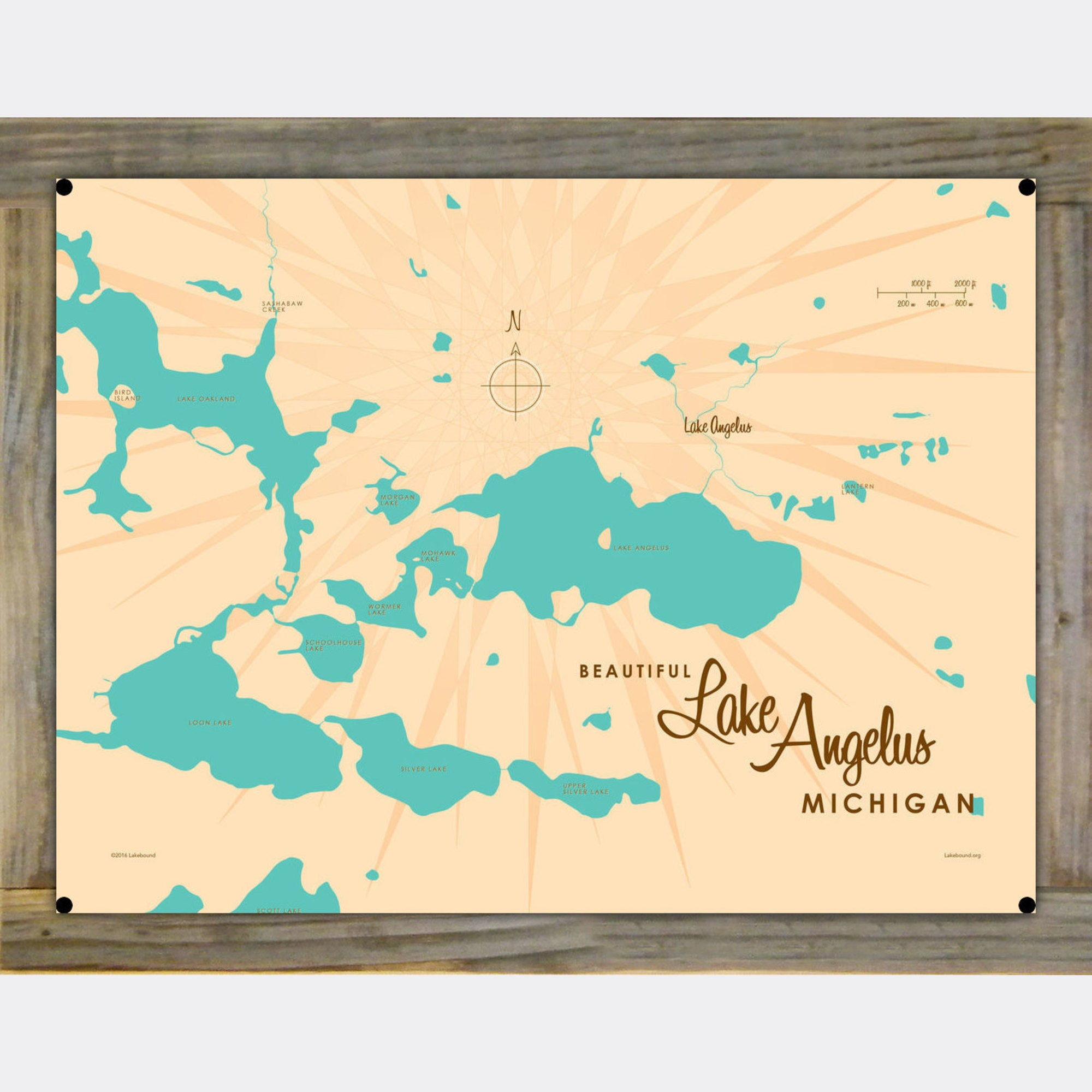 Lake Angelus Michigan, Wood-Mounted Metal Sign Map Art